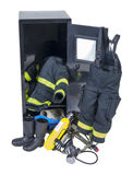 Fireman Outfit in Locker Stock Images