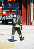 Fireman with oxygen tank Royalty Free Stock Photo