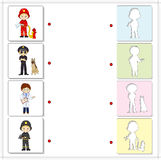 Fireman, policeman with dog and doctor. Educational game for kid Royalty Free Stock Images