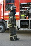 Fireman portrait. Photo take in Moscow. During Shrovetide Pancake week celebration in Gorky park Stock Photography