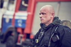 Fireman after firefighting. Fireman portrait in uniform after firefighting. fire training stock images