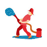 Fireman pours water from a hydrant in  cartoon style Royalty Free Stock Photos