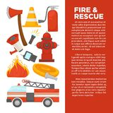 Fireman profession and fire secure protection poster of fire extinguishing equipment tools. Vector flat design of fire extinguisher, water hydrant and hose Royalty Free Stock Image