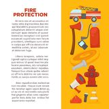 Fireman profession and fire secure protection poster of fire extinguishing equipment tools. Vector flat design of fire extinguisher, water hydrant and hose Royalty Free Stock Photography