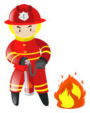 Fireman putting out the fire Royalty Free Stock Image