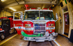 Fireman ready to intervene. ALEXANDRIA - USA - 19 JUNE 2015 Fireman wagon ready to intervene Stock Photo