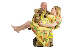 Fireman rescue pregnant woman Stock Photo
