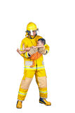 Fireman rescued the child from the fire. Firefighter, fireman rescued the child from the fire, on white royalty free stock photo