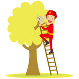 Fireman Rescues Cat. Brave young fireman rescues cute cat on tree climbing ladder Royalty Free Stock Photos