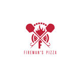 Fireman`s pizza vector concept with oven Royalty Free Stock Photos