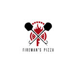 Fireman`s pizza vector concept with oven Stock Photos