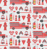 Fireman seamless pattern. Vector seamless pattern firefighter equipment. Flat icon background Royalty Free Stock Photos