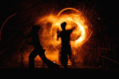Fireman show. Fire man show in night Royalty Free Stock Photos