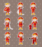 Fireman sitckers. Cartoon vector illustration Royalty Free Stock Image