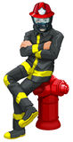 A fireman sitting above the hydrant. Illustration of a fireman sitting above the hydrant on a white background Royalty Free Stock Photography