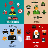 Fireman, soldier, judge and policeman icons. Public service and military professions flat icons of firefighter with tools, army soldier with equipment, judge in Royalty Free Stock Photography