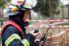 Fireman spark with radios set Royalty Free Stock Image