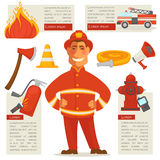 Fireman  and Special Objects Set around. Vector web poster of fire truck, burning fire, yellow rolled cord, red loudspeaker, wooden ax and flashlight labels Stock Photos