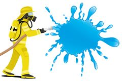 Fireman and splash of water. Fireman in a gas mask and splash of water Stock Photo