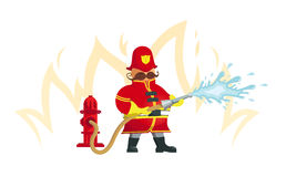 Fireman spraying a water hose. Vector Illustration. Objects grouped for easy editing Royalty Free Stock Image