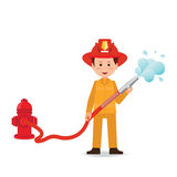 Fireman spraying a water hose  on white background. Fireman spraying a water hose  on white background, cartoon character flat design vector illustration Stock Photo