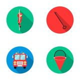 Fireman on the stairs, burning building, fire extinguisher, hose. Fire department set collection icons in flat style. Vector symbol stock illustration Royalty Free Stock Image