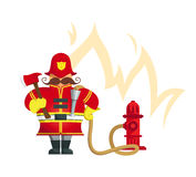 Fireman standing with fire axe. Vector Illustration. Objects grouped for easy editing Royalty Free Stock Photos