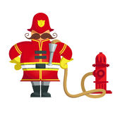 Fireman standing with his arms akimbo. Vector Illustration of a firefighter standing with his arms akimbo. Objects grouped for easy editing Stock Photos