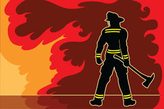 Fireman Standoff. Is an illustration of a silhouetted fireman or firefighter in a strong proud stance as if to warn the fire and flames not to challenge him Stock Images