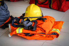 Fireman suit. Equipment safety for fireman Stock Image