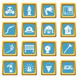 Fireman tools icons azure. Fireman tools icons set in azur color isolated vector illustration for web and any design Royalty Free Stock Image