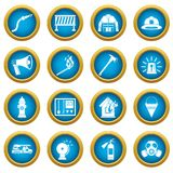 Fireman tools icons blue circle set. Isolated on white for digital marketing Royalty Free Stock Photo