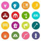 Fireman tools icons many colors set Royalty Free Stock Photos