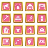 Fireman tools icons pink. Fireman tools icons set in pink color isolated vector illustration for web and any design Royalty Free Stock Photography