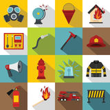 Fireman tools icons set, flat style Royalty Free Stock Photo