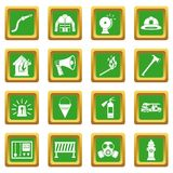 Fireman tools icons set green Royalty Free Stock Image