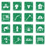 Fireman tools icons set grunge Stock Photography