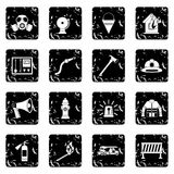 Fireman tools icons set. In grunge style isolated on white background vector illustration Royalty Free Stock Image