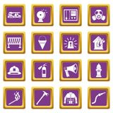 Fireman tools icons set purple Stock Photo