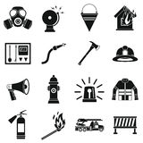 Fireman tools icons set, simple style Stock Photos