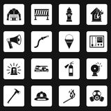 Fireman tools icons set squares vector. Fireman tools icons set in white squares on black background simple style vector illustration Stock Image