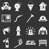 Fireman tools icons set grey vector. Fireman tools icons set vector white isolated on grey background Stock Images