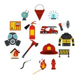 Fireman tools set flat icons. Fireman tools set icons in flat style isolated on white background Royalty Free Stock Photos
