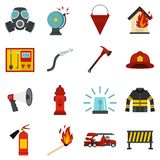 Fireman tools set flat icons. Fireman tools set icons in flat style isolated on white background Stock Photo