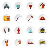 Fireman tools set flat icons. Fireman tools set icons in flat style isolated on white background Royalty Free Stock Photography