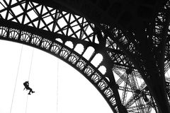 Fireman training on Eiffel Tower Royalty Free Stock Photo