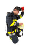 Fireman in uniform isolated Royalty Free Stock Photos