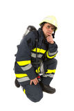 Fireman in uniform isolated Stock Image