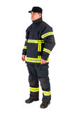 Fireman in uniform isolated in white Stock Photo