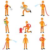Fireman in uniform and protective helmet doing their job set, vector collection Stock Photography